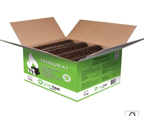 Premium briketi Greeheat 10kg v kartonu