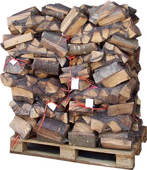 Bukova drva v mrežasti vreči na paleti